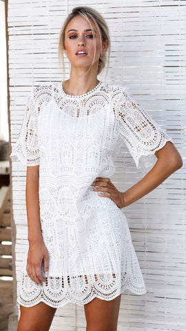 Laura Lace Dress - White