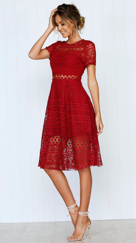 Exclusive Lace Dress - Wine