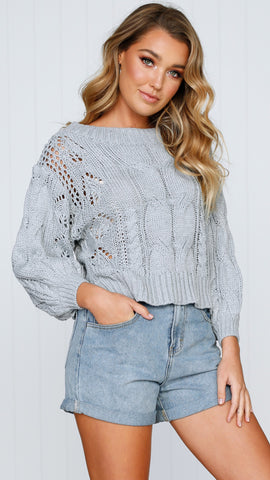 Columbus Off the Shoulder Knit - Grey