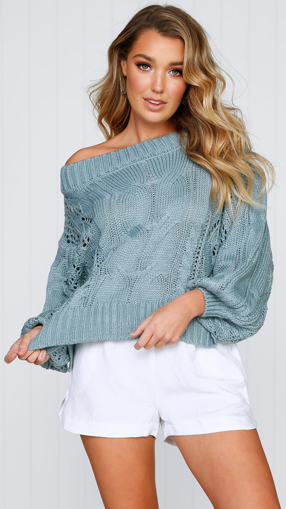 Columbus Off the Shoulder Knit - Sage