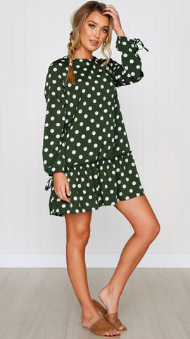 Mylah Smock Dress - Forest Green