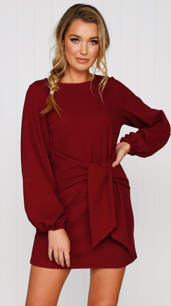 Temple Knit Dress - Wine