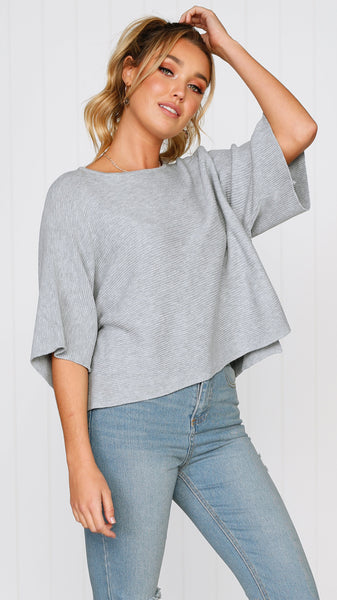 Calista Knit Top - Grey