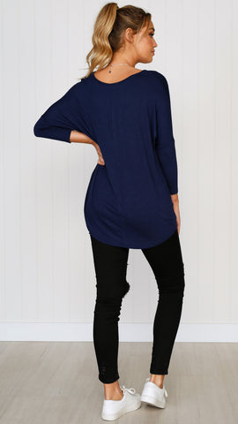 Milan 3/4 Sleeve Top - Navy