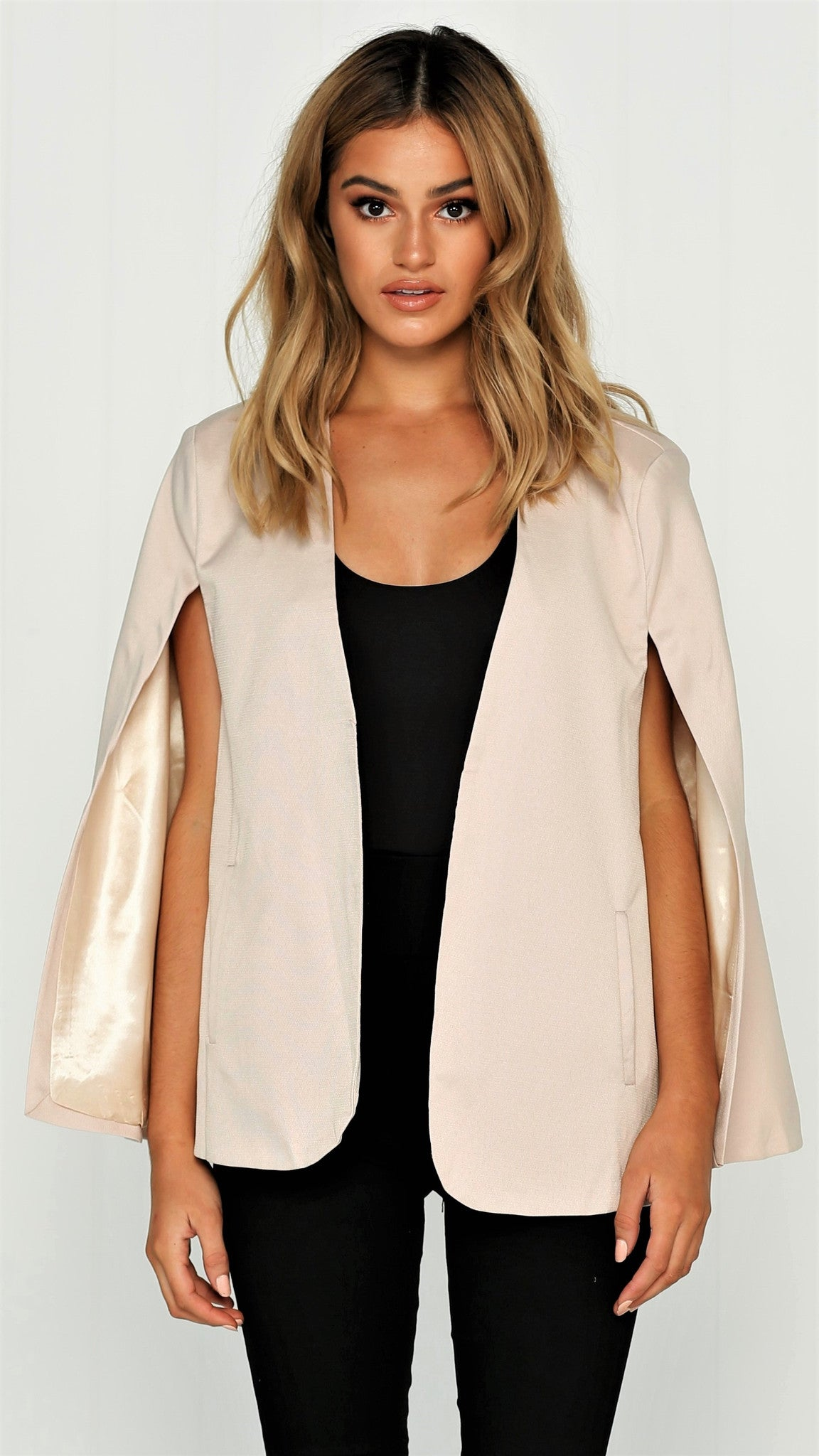 Take Over Cape Blazer - Cream