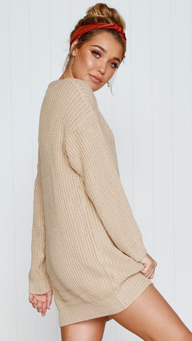 Oxford Knit Dress - Sand