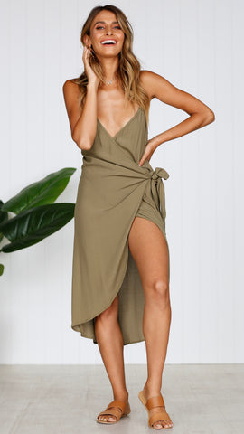 RAYZ WRAP DRESS - KHAKI