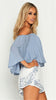 Ellie Off Shoulder Top - Blue