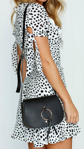FLIP OVER METAL RING SADDLE CROSS BODY BAG