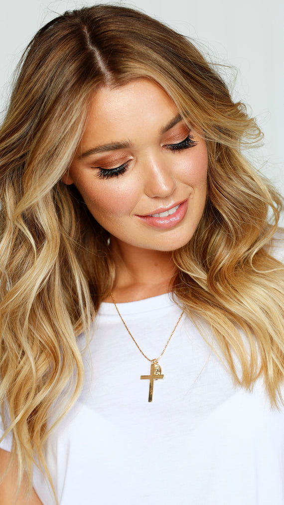 Cross & Coin Pendant Necklace