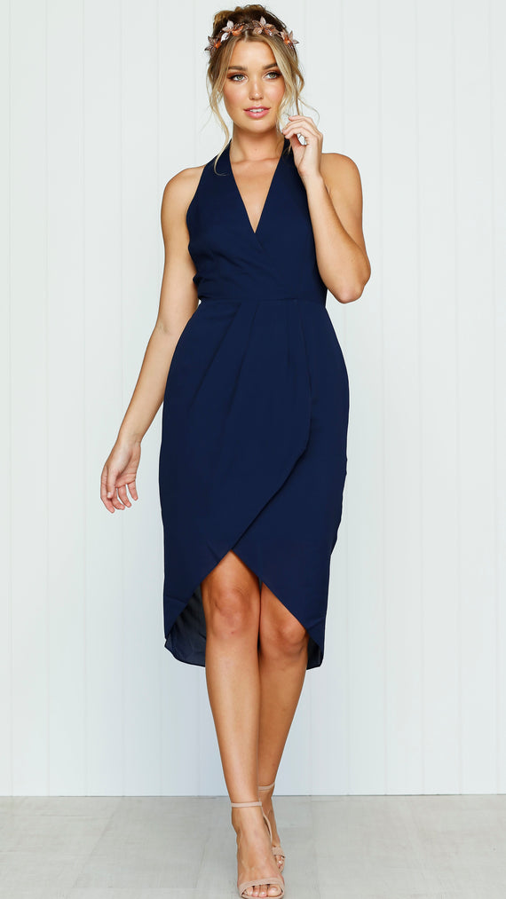 Evening Light Drape Dress - Navy