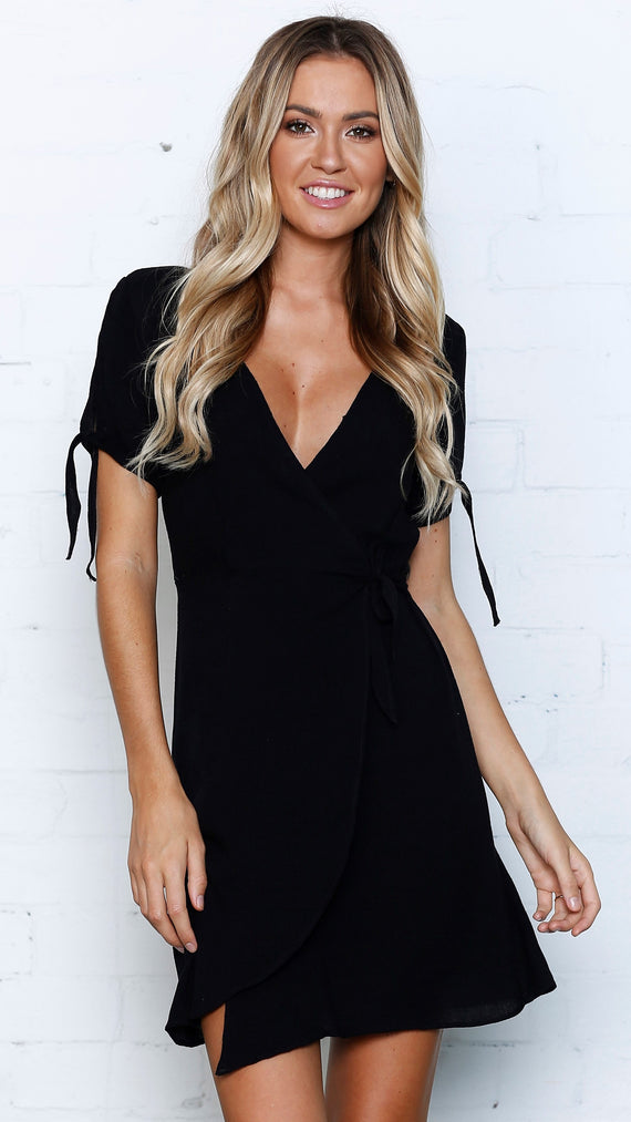 Leoni Wrap Dress - Black