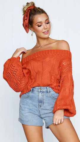 Columbus Off the Shoulder Knit - Burnt Orange