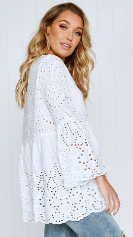 All About You Lace Blouse - White