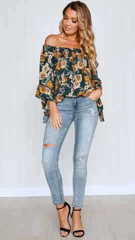 Only in Dreams Top - Green Floral