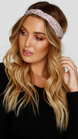 Floral Headband - Dusty Pink