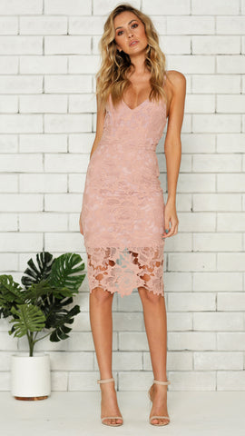 Jules Lace Dress - Blush