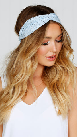 Polka Dot Headband -  Blue / Black
