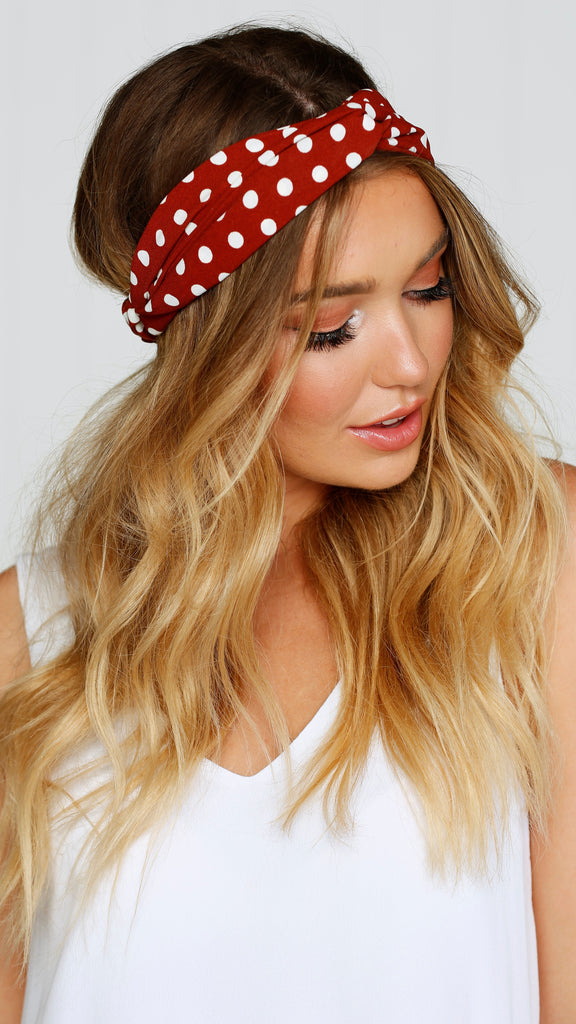 Headband - Berry / White polka