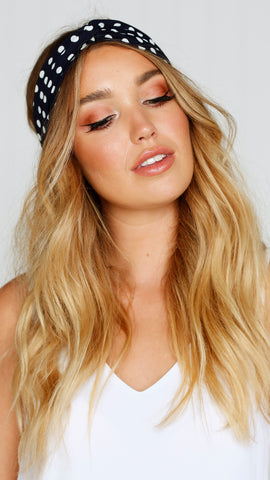 Headband - Navy / white polka