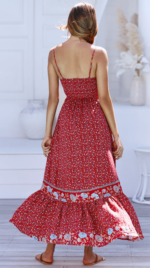 Carillo Dress - Red Floral