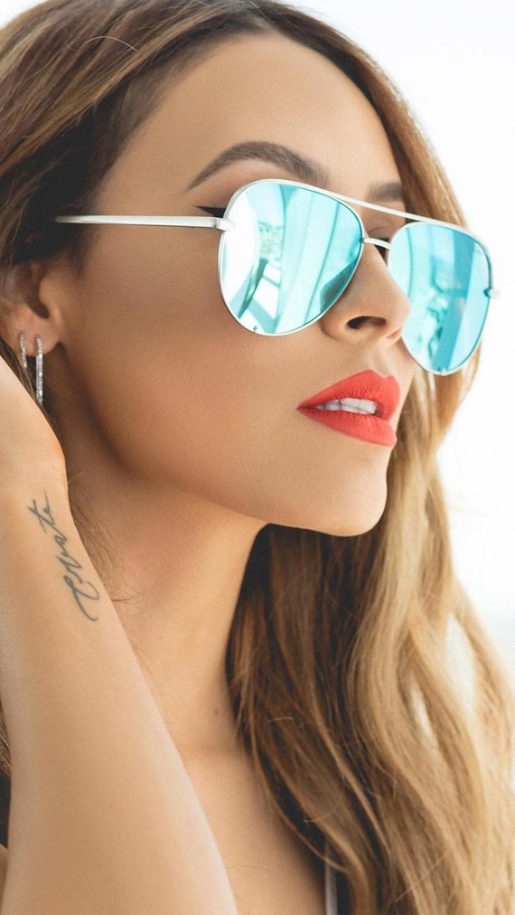 QUAY - HIGH KEY - SUNGLASSES - SILVER/BLUE