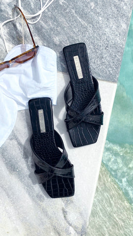 Flynn Slide - Black Croc