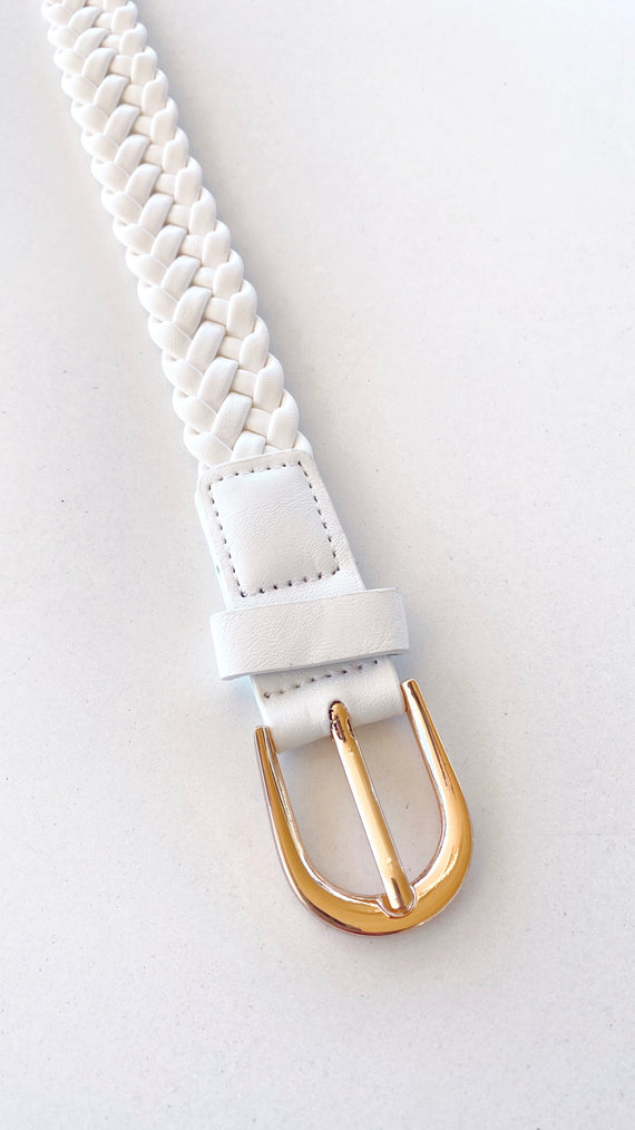 Rosa Braided Belt - White