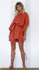 SATEEN DRESS - RUST