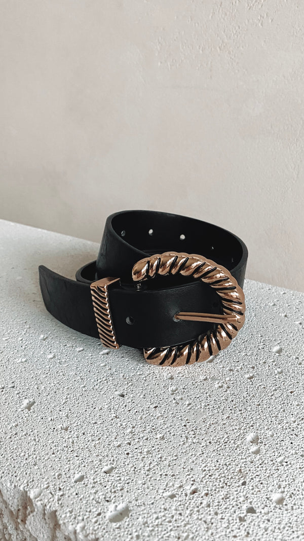 Faola Twist Buckle Belt - Black