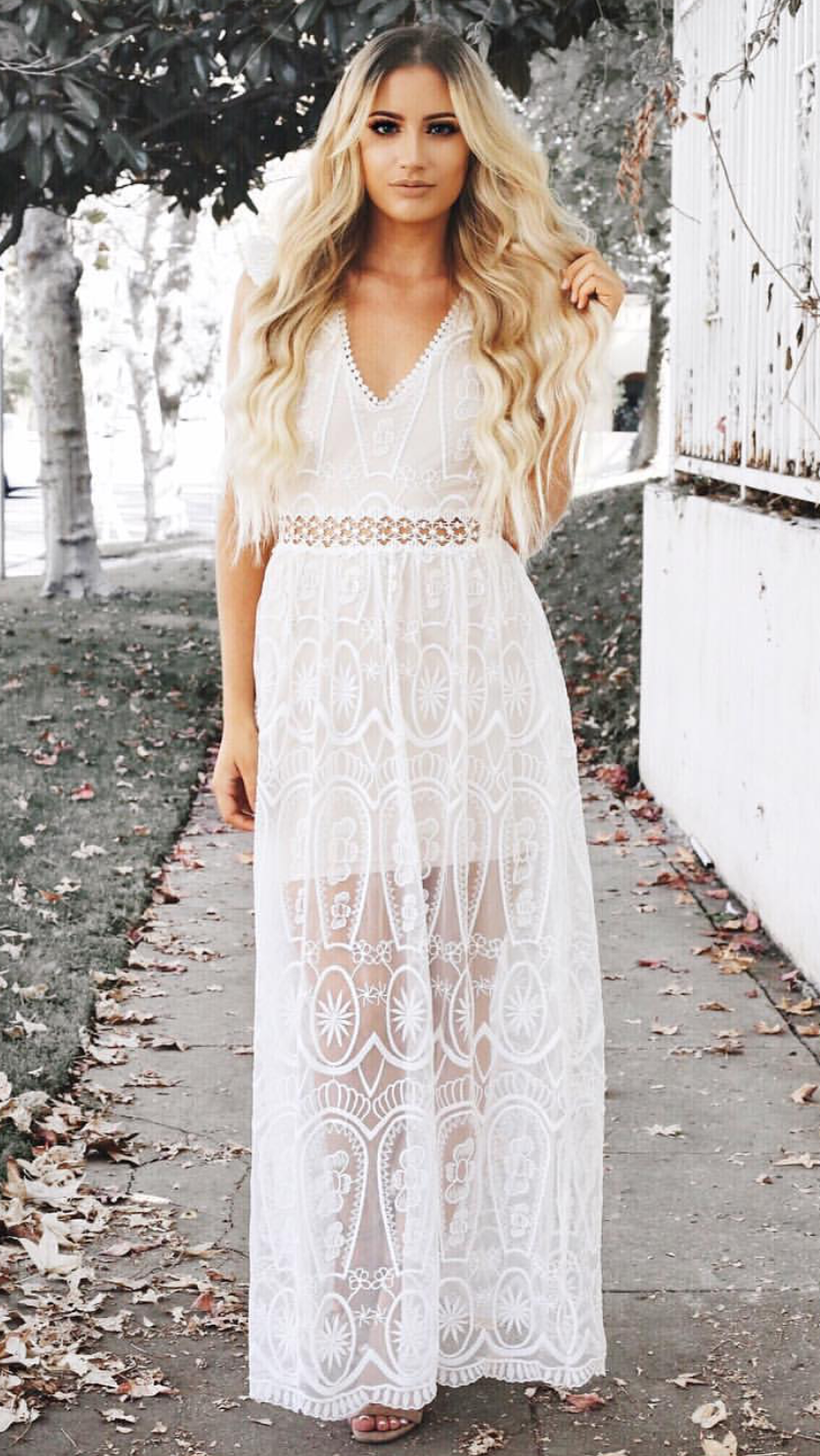 Im Yours Lace Maxi Dress - White