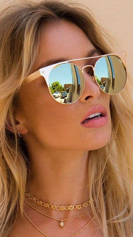 QUAY - THE IN CROWD SUNGLASSES - GOLD/GOLD
