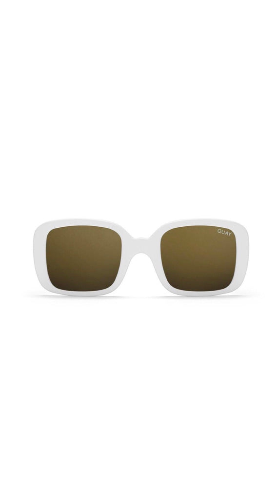 Quay - 20's - Sunglasses - White / Gold