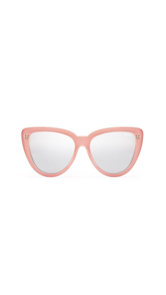 QUAY STRAY CAT SUNGLASSES - PEACH/SILVER