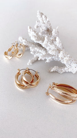 Maya Twist Earrings Set - Gold