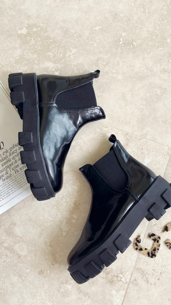 Xanthos Boot - Black Patent