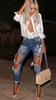 Ripped Boyfriend Jeans - Dark