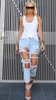Ripped Boyfriend Jeans - Light blue