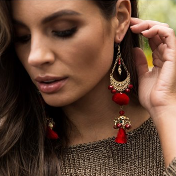 BOLLYWOOD TIERED TASSEL EARRING