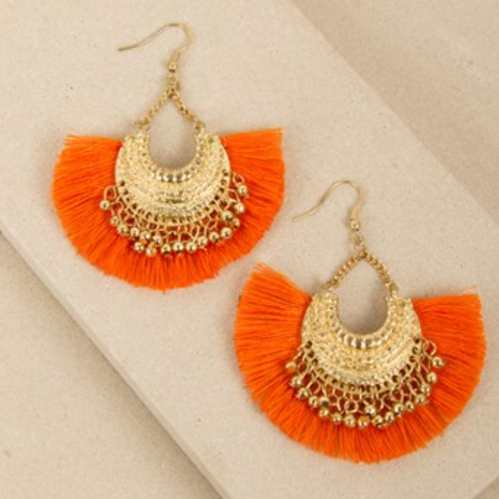 MINI FRINGE BEADED EDGE CURVED EARRINGS - ORANGE