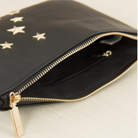 Stars & Moon Zip Top Clutch - Black