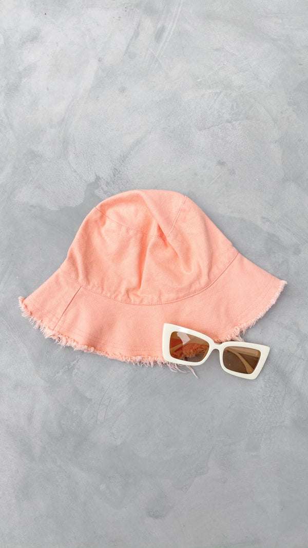 Darcy Frayed Bucket Hat - Pink