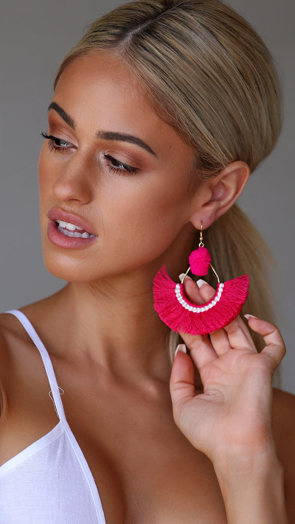Filly Earrings- Pink/White