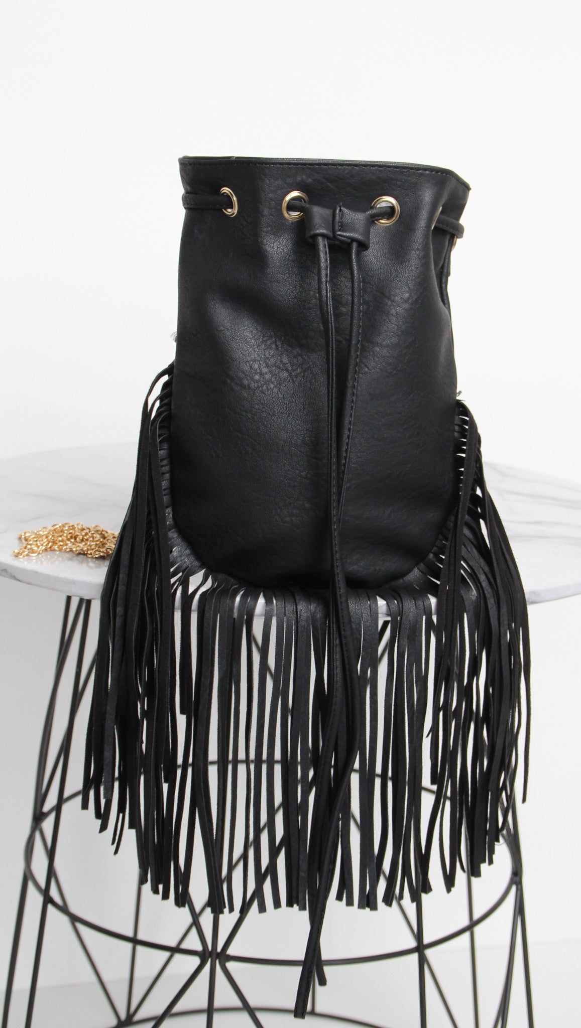 Eddie Fringed Bag - Black