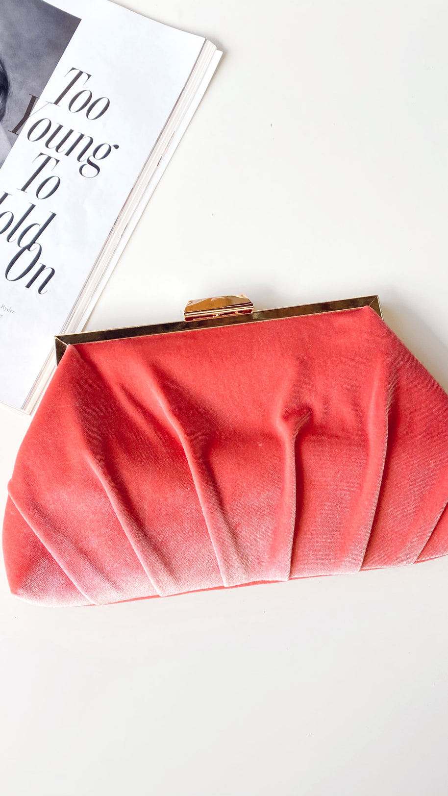Pleated Velvet Frame Clutch - Coral