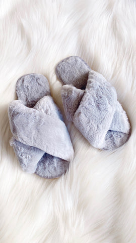 Jessica Fluffy Slippers - Grey