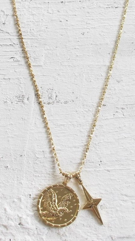 Eagle Pendant Necklace - Gold - Restocked