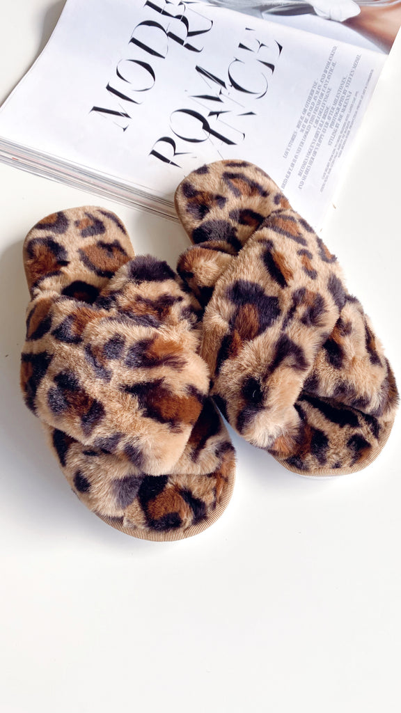 Jessica Fluffy Slippers - Leopard