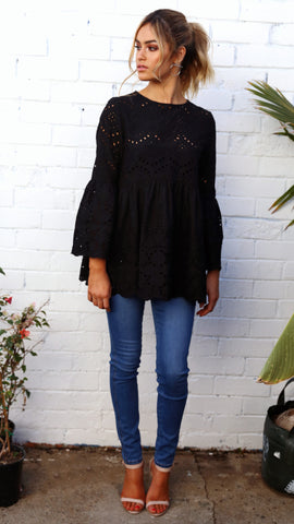 All About You Lace Blouse - Black