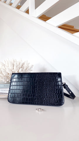 Porter Shoulder Bag - Black Croc